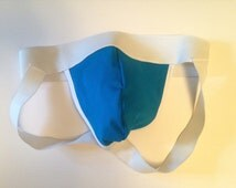 Basic Blue and White jockstrap with white piping on the cup.