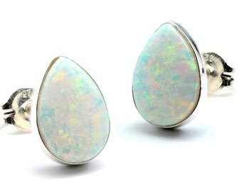 Fire Opal 8x10mm Pear Shaped Stud Earrings .925 Sterling Silver