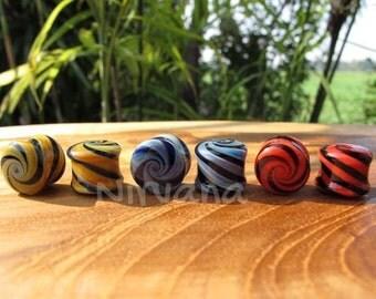 "Candy Swirl Pyrex Glass Plugs 6g 4g 2g 0g 00g 7/16"" 1/2"" 9/16"" 5/8"" 3/4"" 1"" 4mm 5 mm 6 mm 8 mm 9.5 mm 10 mm 12 mm 14 mm 16 mm 18 mm 25 mm"