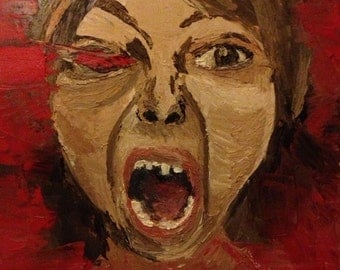 Moody Red Original Oil Painting on Canvas.