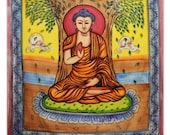 Lord Buddha Tapestry, Indian Tapestries, Full Size Sheets, Cotton Wall Hanging, Bedcover, Wall Décor Bedspread, Boho Wall Tapestries TP1275A