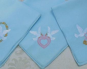 Embroidered Wedding Napkins - White Doves