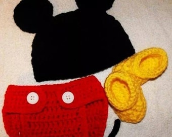 crochet handmade mickey mouse clothes for baby boy 3 pcs