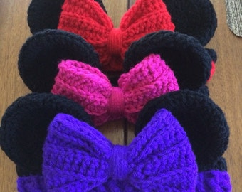 Minnie Mouse Inspired Crochet Headband