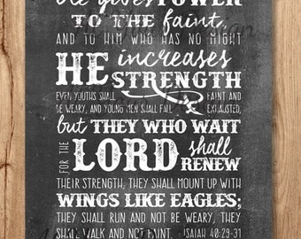 """They that wait for the Lord...renew their strength...with wings like eagles -- Isaiah 40 v29-31 -- Download. Sizes: 8""""x10"""" and 1 with bleed"""