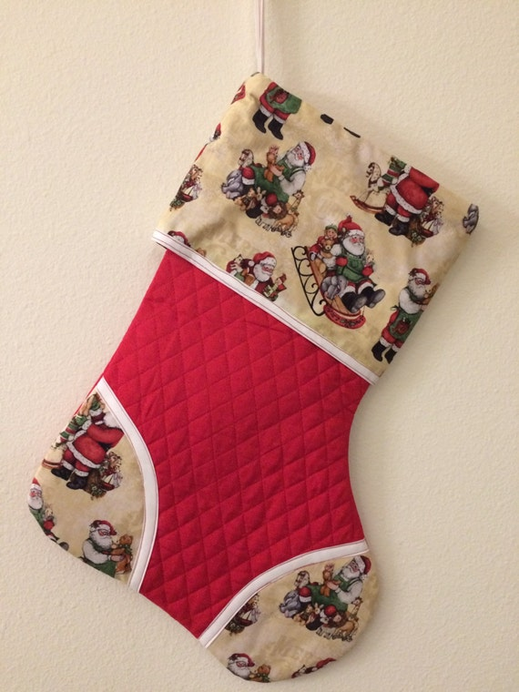 Old fashioned santa in sleigh christmas stocking for Fashion christmas stockings