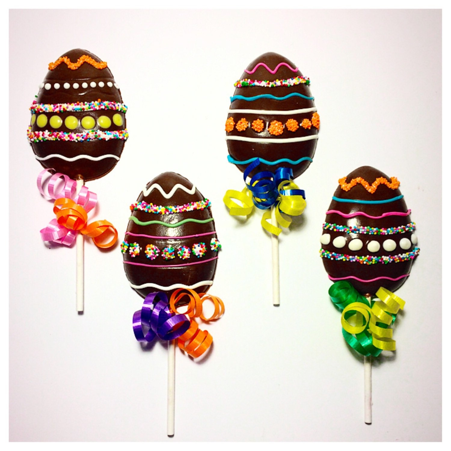 Decorated Easter Egg Belgian Chocolate Lollipops