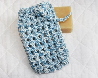 Crocheted Soap Bag or Saver, Eco-friendly All Cotton Soap Pouch or Sack, Blue and White Variegated Cotton Yarn, Exfoliating Shower Bag