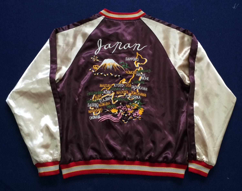 Vintage japanese army sukajan reversible jacket embroidered