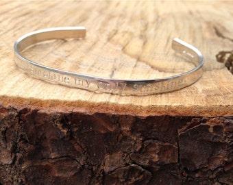 Personalised Silver Cuff // Ajustable Cuff Bracelet // Name Cuff // Keepsake Bracelet