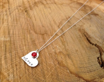 Custom Hand stamped Love Heart Necklace with Swarovski Crystal