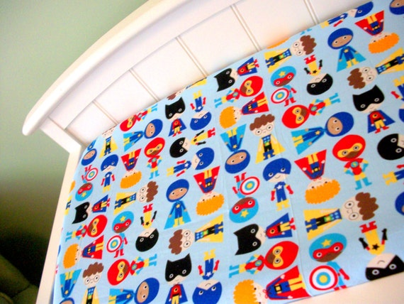Superhero Custom Baby Boy Bedding Blue Red Yellow
