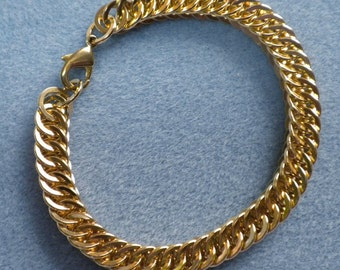 solid brass hammered half Persian 4-in-1 chainmaille bracelet