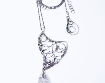 Sheela - handmade silver wire wrapped necklace with raw citrine, wire wrapping, wire work, wire wrap