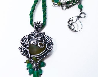 Rillifane - wire wrapping, fine silver penadant with green jades, braided chenille in green and sterling silver chain, wire wrap, metalwork