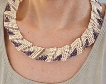 """Livane necklace in col Purple-cream """"FREE SHIPPING"""""""
