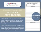 Personal Doctor's Appointment Tracker - Doctors Appointment Log for Kikki K Medium and Filofax Personal Planners