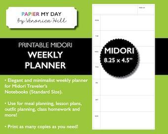 Midori Traveler's Notebook Weekly Planner - MTN Week Planner Printable