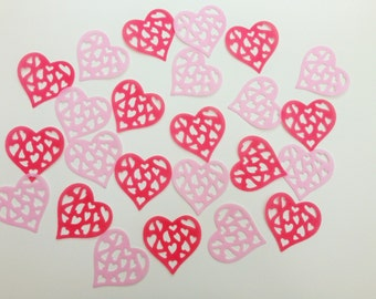 24 Edible Hot Pink and Pink Heart Wafer Cupcake Toppers Precut