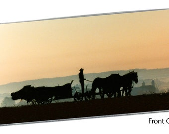 Amish Wagon Silhouette Checkbook Cover Pocket Note Pad, Horses Equestrian Horse Yellow Sky Sunrise Sunset Carriage Farm Animal