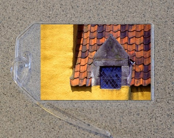 Leaded Glass Window Luggage Tag Name Address Bag Tags, Yellow Stone House Roof Shingles Home Building Europe Urban Landscape