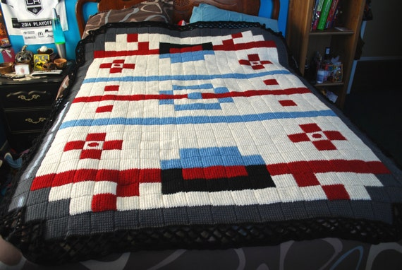 Crochet Ice Hockey Rink Blanket