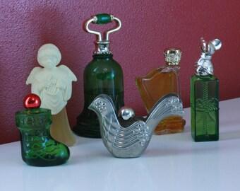 LOT OF 6 Vintage Avon Perfume Or Cologne Bottles // Small Vases // Oil Jars