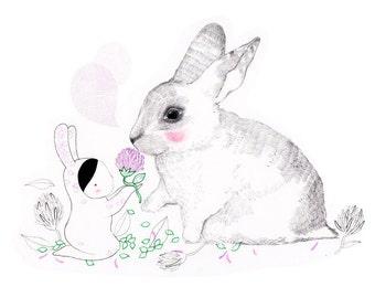"""Art print """"The White Rabbit""""-Whimsical-Pink-Illustration-children"""