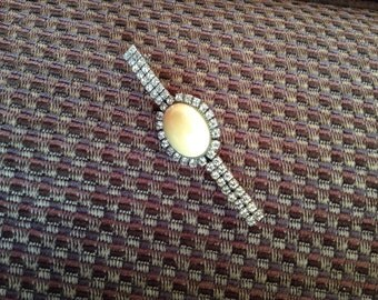 Diamanté  and faux opal brooch