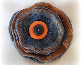 SALE - Upcycled Denim Flower Pin Brooch Blue Rose Corsage with Orange Button centre - made from Recycled Jeans and Clothing - Wearable Art