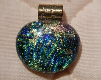 Blue,pink, green and gold Dichroic fused glass Pendant