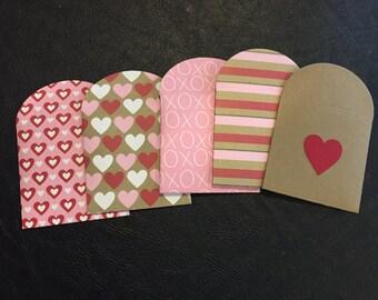Mini Envelopes, Gift Envelopes, Small Envelopes Kraft Envelopes, Valentine's Day Theme, Love, Wedding, Bridal Shower – Set of 10