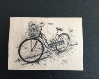 Rubber Stamp on Wood Block – Bicycle with Basket of Flowers, Large Bicycle Rubber Stamp, Scrapbooking, Card Making, Inkadinkado