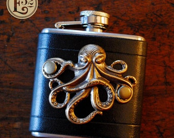 Flask - brass octopus on black leather (3oz)