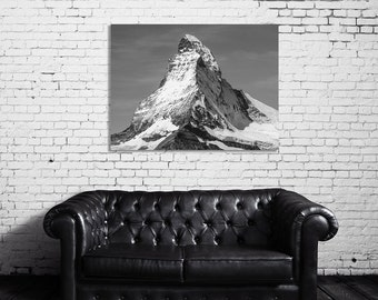 Matterhorn, Poster, Large Wall Art, Black and White Photography, Mountain, Italy, Switzerland, 18x24 Wall Art, Art Print, Industrial