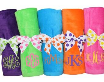 Monogrammed beach towel, SET OF 14, personalized beach towel, bridesmaid towel, wedding party gift, custom beach towel, destination wedding