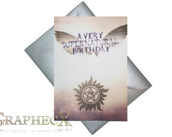 Supernatural inspired personalized birthday card
