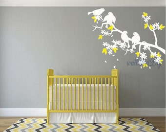 Items similar to hummingbirds and modern tree branch decal for Cherry blossom wall mural stencil