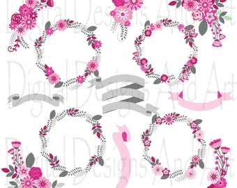 Pink floral clipart, Pink gray flower clipart, Pink flower digital clip art, Floral clip art, Flower ribbons, Invitation Label Tags,