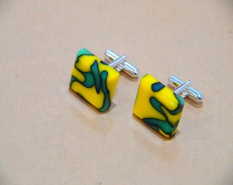 Cuff Links - Resin/Acrylic Green and Yellow Mens Cuffs