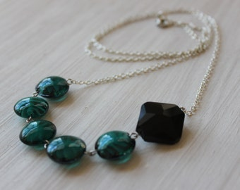 Black and Teal Asymmetrical Necklace 32 inches long 5002