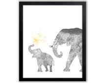 Gray And Yellow Nursery Art, Elephant Art, Watercolor Nursery Art - EL030