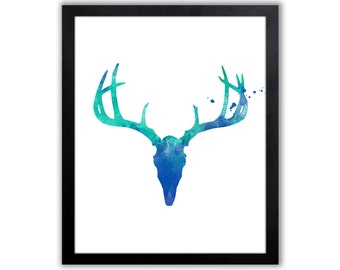 Contemporary Watercolor Art Print For The Home - Antlers, Woodland Theme Home Decor - WA052