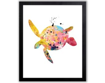 Sea Turtle Art - Turtle Watercolor Art Print - Sea Turtle Decor - Nautical Wall Art - Bathroom Art Print - NA024
