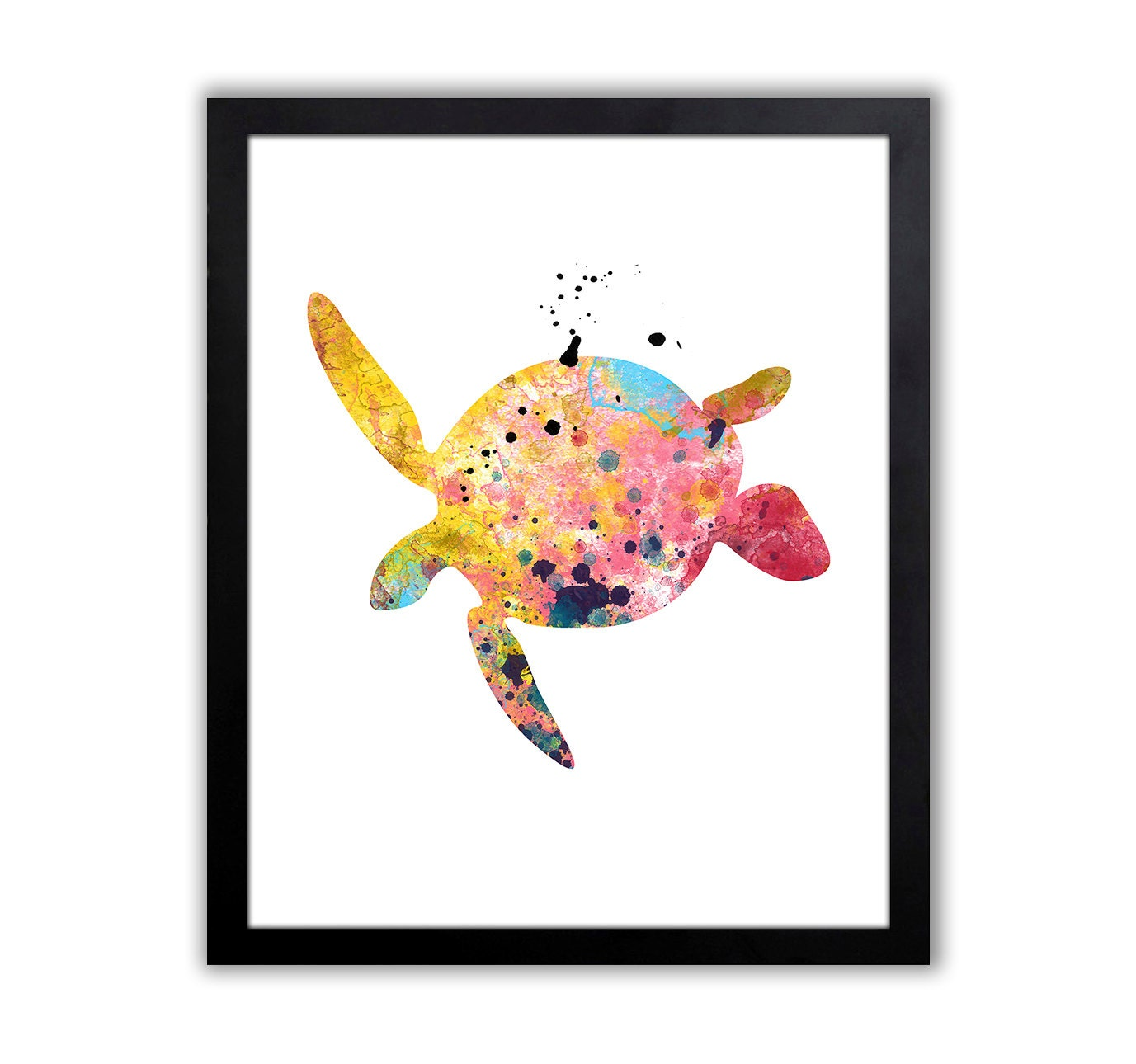 Sea Turtle Art   Turtle Watercolor Art Print   Sea Turtle Decor   Nautical  Wall Art   Bathroom Art Print   NA024