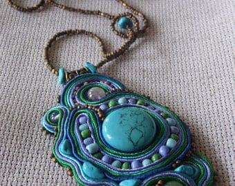 SALE!!! Soutache pendant Handmade OOAK Turquoise, Green Aventurine, Amethyst, Moonstone
