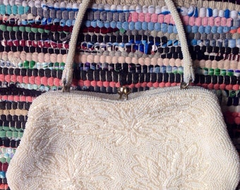 Beautiful white beaded vintage evening wear purse /clutch