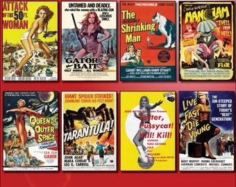 Classic B Movie Film Poster Fridge Magnets - Set of 8 large fridge magnets No.1