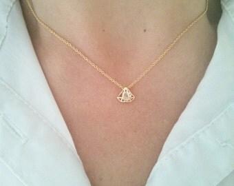 Tiny Gold Necklace,Gold Diamond Charm,Dainty Necklace,Delicate Necklace,Simple Necklace,Birthday Gift,Modern Gold Necklace,Choker Necklace