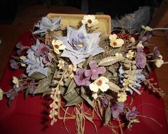 Vintage Faux Flower Arrangement in Wicker Basket